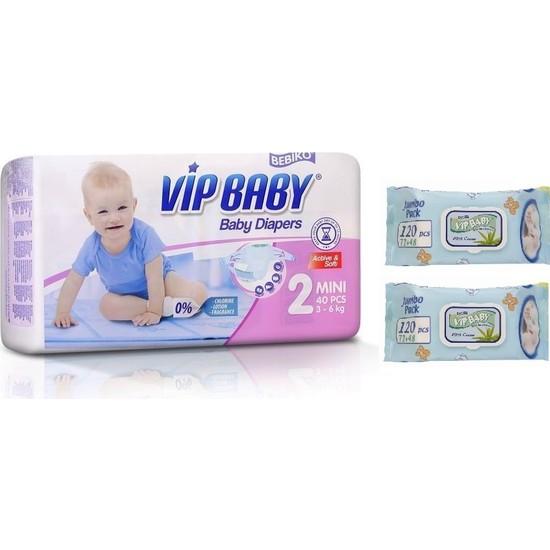 Vip Baby Active&Soft 2 Numara Mini 40 Adet Bebek Bezi + Islak Mendil