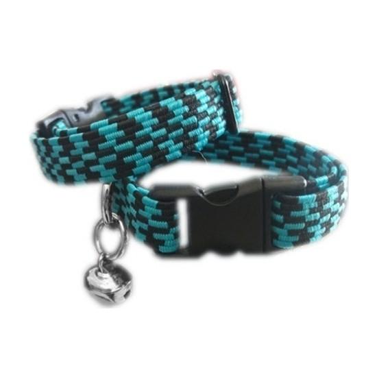 Ans Elastik Örme Yavru Kedi Köpek Boyun Tasması Yeşil-Siyah 10 Mm A=23/32 Cm