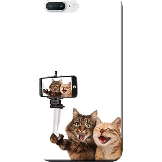Kılıf Merkezi iPhone 7 Plus Kılıf Silikon Baskılı Selfie Çeken Kediler STK:446