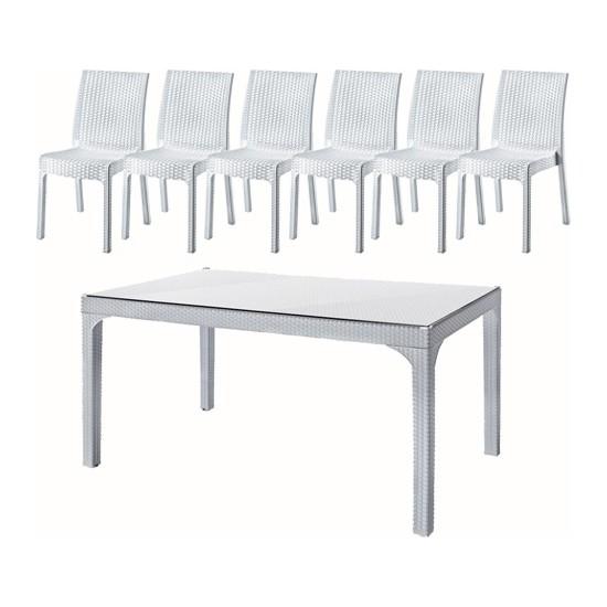 Holidayholiday 90X150 Rattan Camlı Masa(1) - Deluxe Sandalye(6) Bahçe Takımı