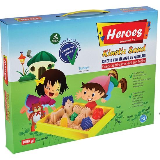 Heroes Kinetik Oyun Kumu Oyun Havuzu Oyun Kalıpları 4 Renk - 1000 Gr Kinetik Kum