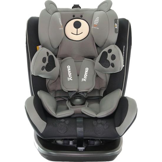 Yoyko Bear 360 ° Dönebilir Yatabilir 0-36 Kg Oto Koltuğu ISOFIX/SIP/LATCH - Gri