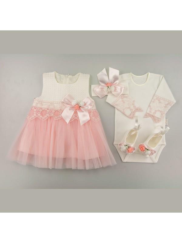 Tory Baby 4157 Renkli Güpürlü Kız Bebek Mevlüt Takımı Pembe