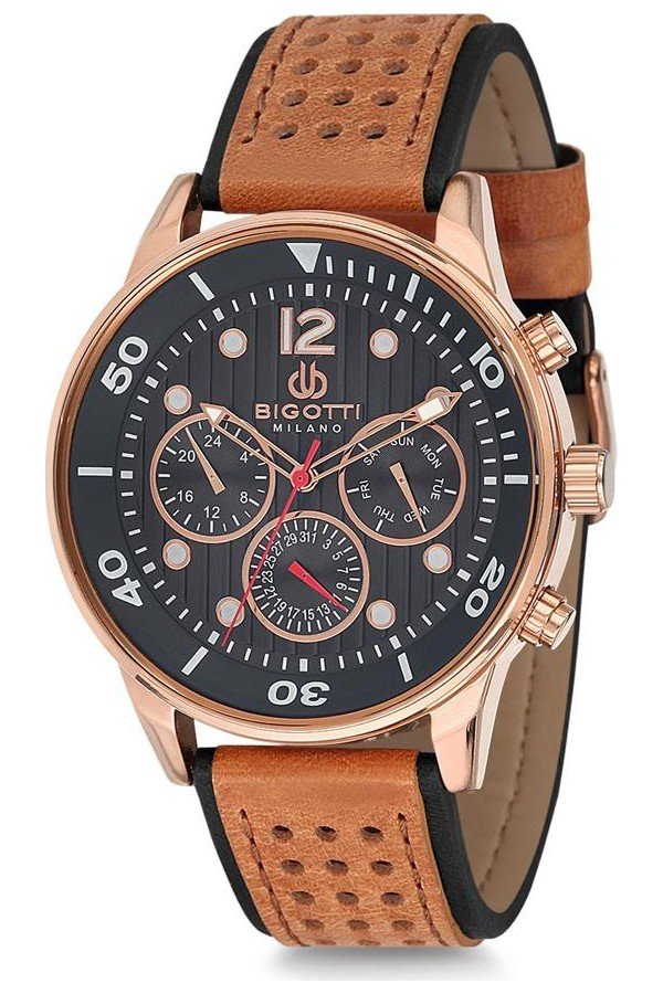 Bigotti Milano Leather Strap Men's Watch BGT010608R