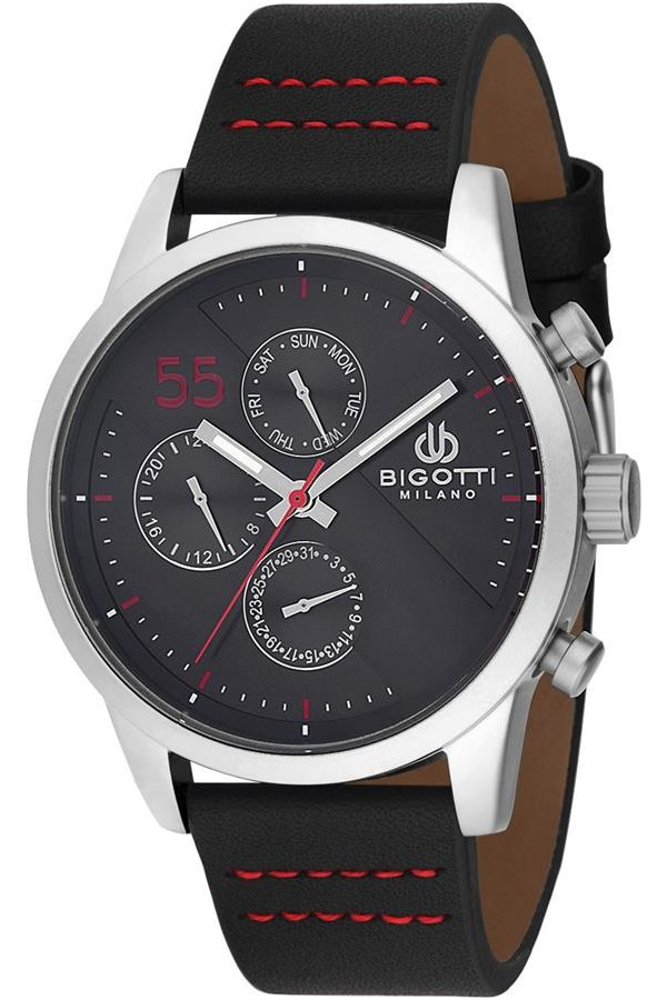 Bigotti Milano Leather Strap Men's Watch BGT010830D