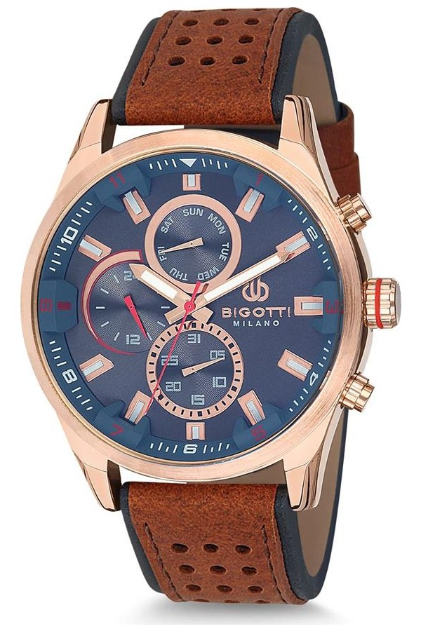 Bigotti Milano Leather Strap Men's Watch BGT06260J