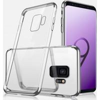 Case 4U Samsung Galaxy S9 Lazer Kaplamalı Şeffaf Silikon Kılıf - Gümüş Gri