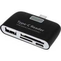Tkz USB Type-C Kart Okuyucu ve USB Dönüştürücü Çevirici Siyah