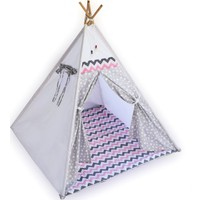 Bebekister Ahşap Kızıldereli Minderli Çocuk Oyun ve Uyku Çadırı