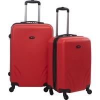 TUTQN Kırılmaz Plastik Bavul 2'Li Valiz Set %100 PP Kırmızı