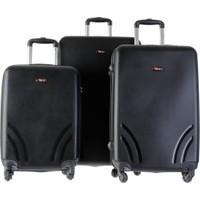 TUTQN Kırılmaz Plastik Bavul 3'lü Valiz Set %100 PP Siyah