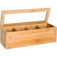 Edco Bambu Çay Kutusu 4 Bölmeli Kapaklı Poşet Bitki Çayı Saklama Kabı