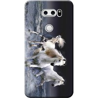 Kılıf Merkezi LG V30 Plus Kılıf (V30+) Silikon Baskılı Beyaz Atlar STK:175