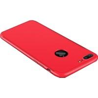Case 4U Apple iPhone 7 Plus / 8 Plus 360 Derece Korumalı Tam Kapatan Koruyucu Kılıf Kırmızı