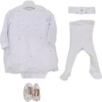 Mini Damla 4911 Bebek Mevlüt Takımı Kız Pileli Taşlı Beyaz 3-6 Ay (62-68 Cm)