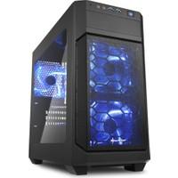 Sharkoon V1000 SiyahPencereli 3x Led Fanlı 2xUSB 3.0 Micro-ATX Oyuncu Kasası