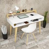 Yurudesign Masif A11 Çalışma Masası Raflı Retro 60cm Derinlik Beyaz