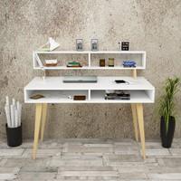 Yurudesign Masif A12 Çalışma Masası Raflı Retro 60cm Derinlik Beyaz