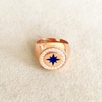 Vella Jewels Gümüş Taşlı Lacivert Mineli Yıldız Detaylı Ayarlanabilir Serçe Parmak Yüzük