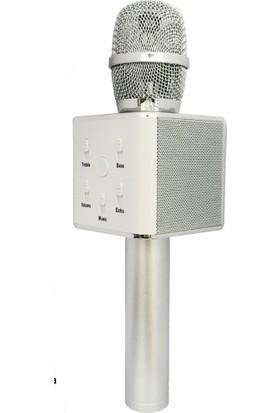 TechnoStyle Karaoke Mikrofon Bluetooth Speaker Karaoke Mikrofon Q7 Gümüş Smule Sing Entegre Çalışır