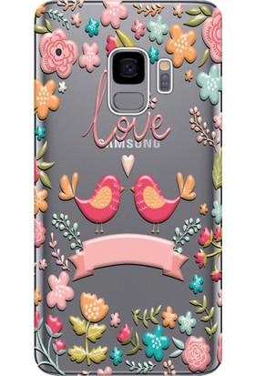 Kılıf Merkezi Samsung Galaxy S9 Plus Kılıf SM-G965F Silikon Baskılı Love Çiçekli STK:326