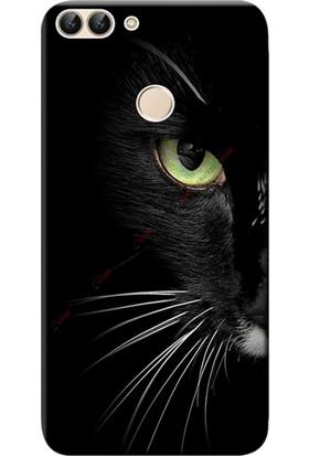 Kılıf Merkezi Huawei P Smart Kılıf Silikon Baskılı Face Cat STK:482