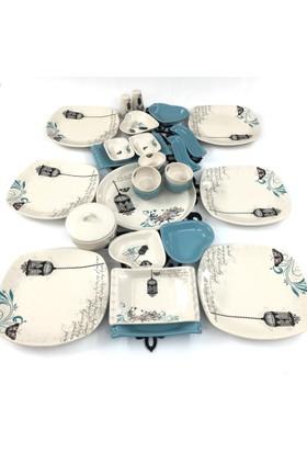 Keramika Retro Turkuaz 28 Parça 6 Kişilik Kahvaltı Takımı