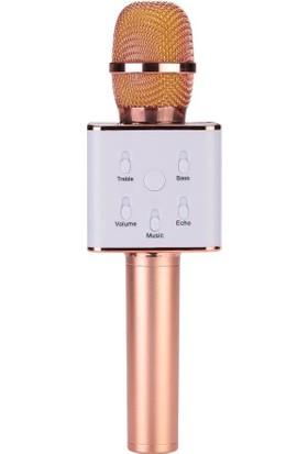 TechnoStyle Karaoke Mikrofon Bluetooth Speaker Karaoke Mikrofon Q7 Rose Gold Smule Sing Entegre Çalışır