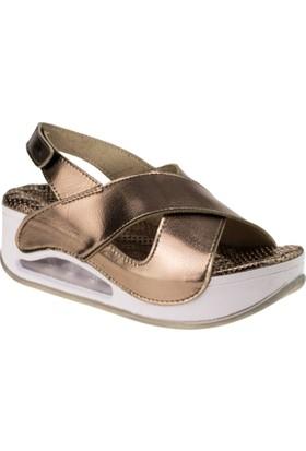 Muya 28287 8y Yüksek Topuk Tek Cirt Platin Kadın Sandalet
