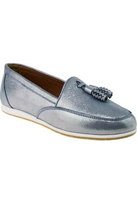 Estile 101-152 Simli Günlük Mavi Kadın Ayakkabı