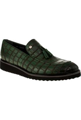 Fosco 8008 Bağsiz Klasik Yeşil Erkek Ayakkabı