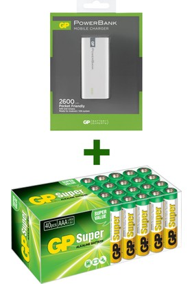 GP Süper Alkalin AAA Boy İnce Pil 40'lı Paket + GP 2.600 mAh Portable Powerbank