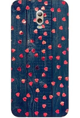 Teknomeg Samsung Galaxy C8 Pembe Kalpler Ve Tahta Desenli Silikon Kılıf