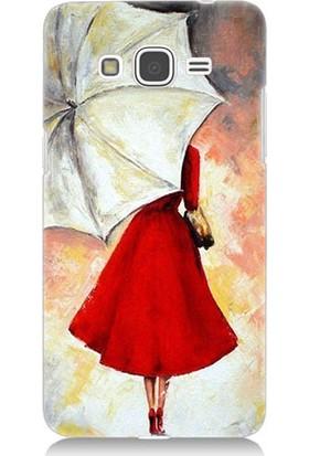 Teknomeg Samsung Galaxy Grand Prime Kırmızılı Kadın Desenli Silikon Kılıf