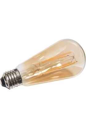 Maxima ST64 LED 8W Dim'li Uzun Filament 2700K Amber Ampul
