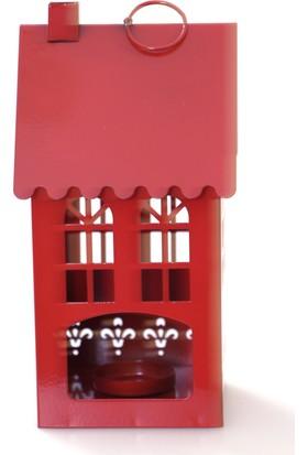 Mien Ferforje Metal Kalpli Küçük Ev Tealight Mumluk Kırmızı