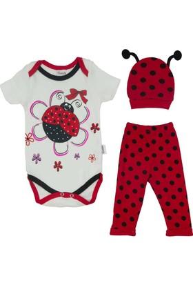 Donino Baby Uğur Böcekli Kısa Kol 3'lü Bebek Takım