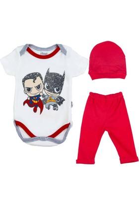 Donino Baby Batman Ve Süperman Baskılı Kısa Kol 3'lü Bebek Takım
