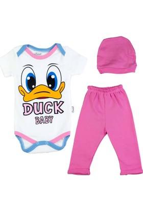 Donino Baby Ördek Baskılı Kısa Kol 3'lü Bebek Takım
