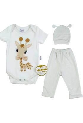 Donino Baby Zürafa Baskılı 3'lü Bebek Takım