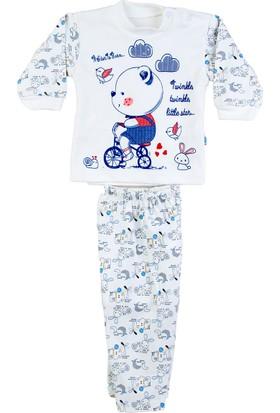 Kardelya Bisikletli Ayı Baskılı Bebek Pijama Takımı