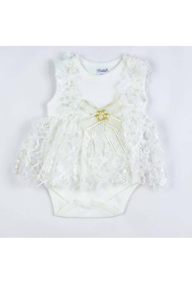 Donino Baby Dantelli Süslü Püslü Taytlı İkili Bebek Elbise Takım