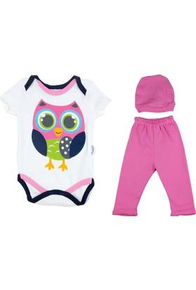 Donino Baby Baykuş Baskılı Şapkalı Bebek Takım