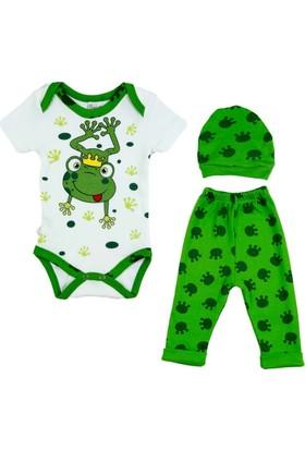 Donino Baby Kurbağa Prens Kısa Kol 3'lü Bebek Takım