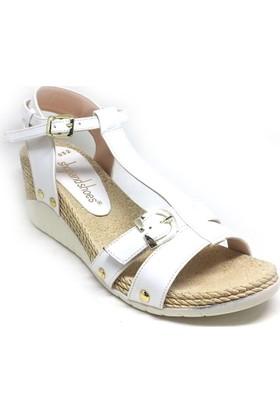 Shop And Shoes 031-2504 Bayan Sandalet Beyaz