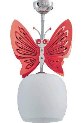 Sedef 4200-1P Kelebek Sarkıt - Beyaz - Kırmızı