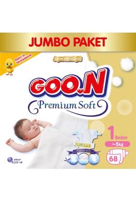 Goon Bebek Bezi Premium Soft Yenidoğan 1 Beden Jumbo Paket 68 Adet