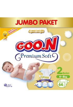 Goon Bebek Bezi Premium Soft Yenidoğan 2 Beden Jumbo Paket 66 Adet