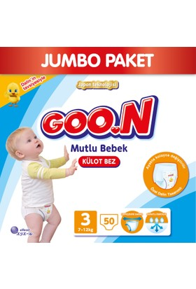 Goon Pants Külot Bebek Bezi Mutlu Bebek 3 Beden Jumbo Paket 50 Adet