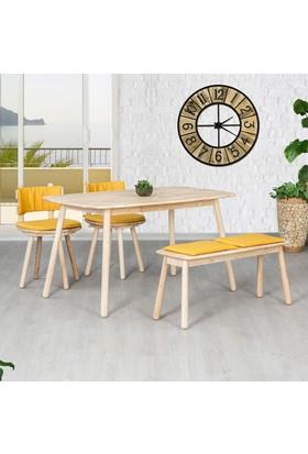 Vitale Seven Sarı Ahşap Yemek Masası Seti